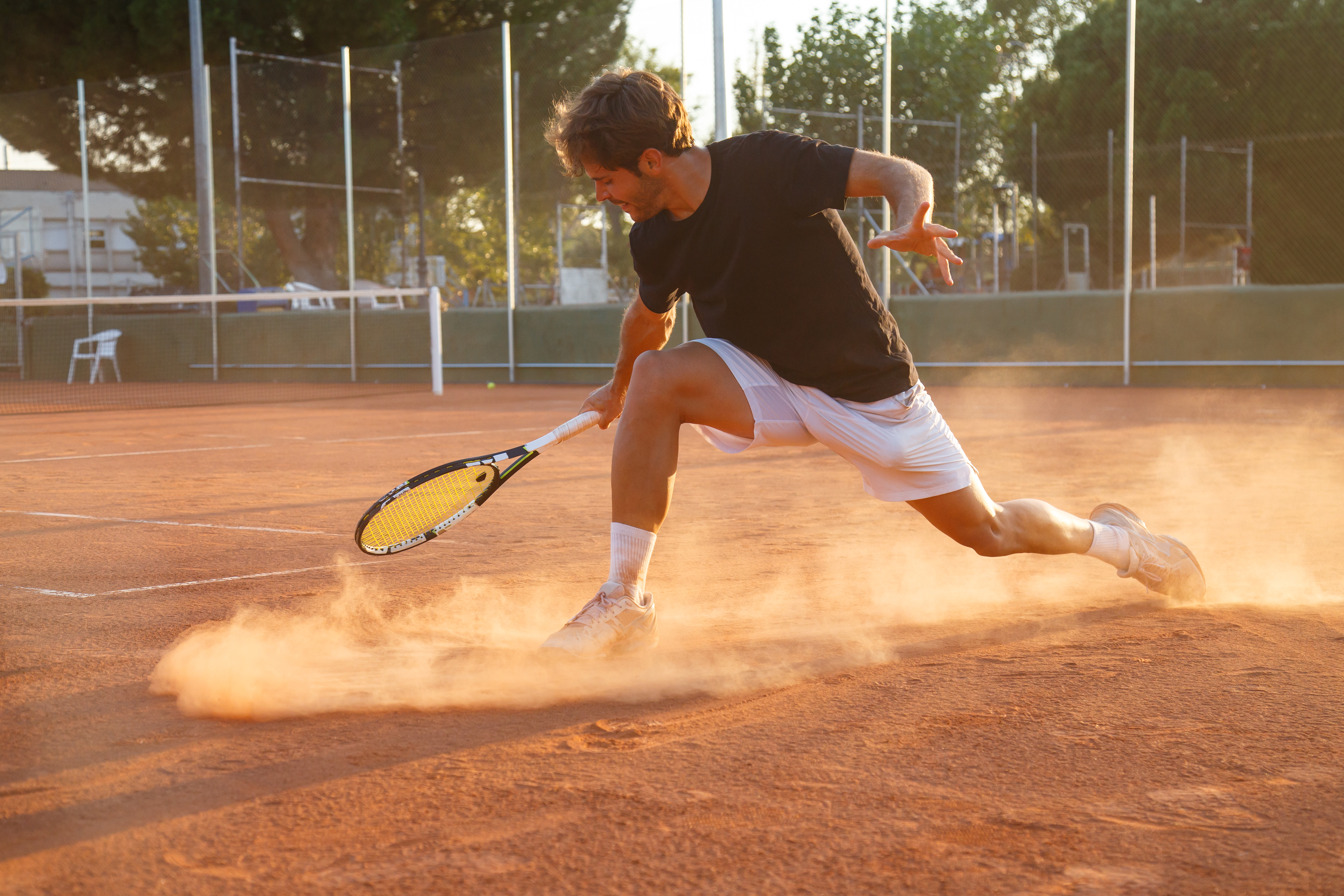 Professional tennis player on court